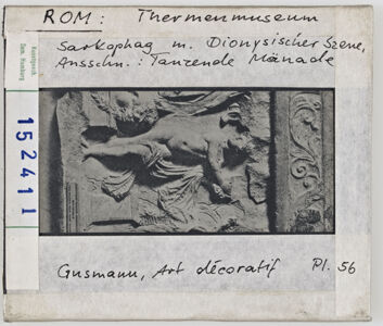 translation missing: de.preview Rom: Thermenmuseum, Sarkophag mit Dionysischer Szene, Ausschnitt Tanzende Mänade