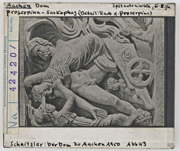 translation missing: de.preview Aachen: Dom, Proserpina-Sarkophag (Detail, Raub d. Proserpina)