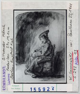 Vorschaubild Rembrandt: Sitzender Mönch. Berlin, Kupferstichkabinett