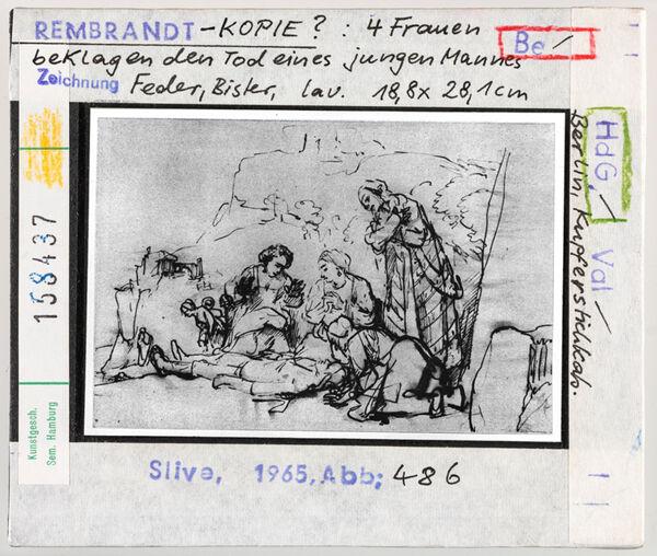 Vorschaubild Rembrandt-Kopie (?): Vier Frauen beklagen den Tod eines jungen Mannes. Berlin, Kupferstichkabinett
