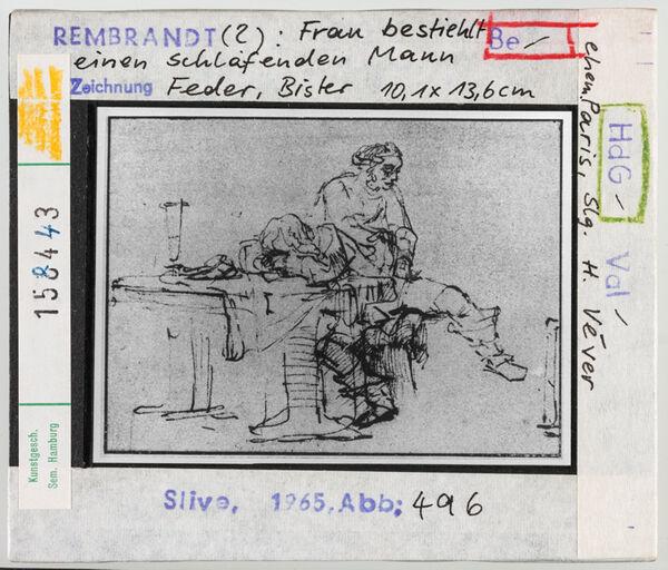 Vorschaubild Rembrandt (?): Frau bestiehlt einen schlafenden Mann. ehem. Paris, Slg. Véver