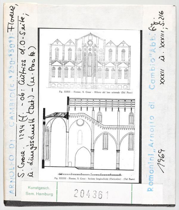 Vorschaubild Florenz: Santa Croce, Aufriss der Ostseite und Längsschnitt