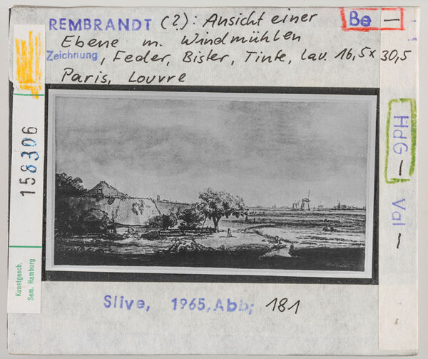Vorschaubild Rembrandt (?): Ansicht einer Ebene mit Windmühlen