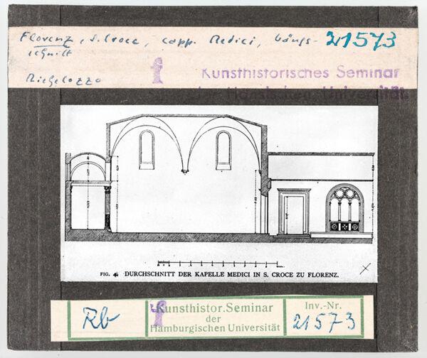 Vorschaubild Florenz: Santa Croce, Medicikapelle, Längsschnitt. Michelozzo