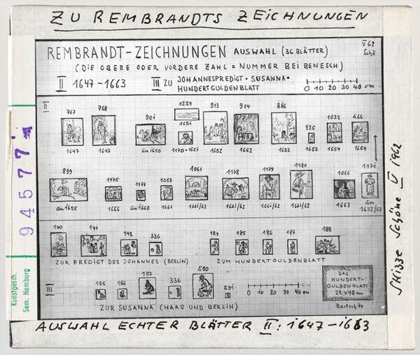 Vorschaubild Rembrandt: Auswahl echter Zeichnungen. Skizze von Wolfgang Schöne