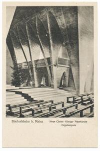 translation missing: de.preview Neue Christ-Königs-Pfarrkirche, Orgelempore (Postkarte Eigentum Kurt Wilhelm-Kästner)