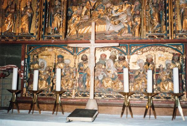 Vorschaubild Stiftskirche St. Maria, St. Johannes und St. Elisabeth, Marienaltar, Predella  (Foto 1990)