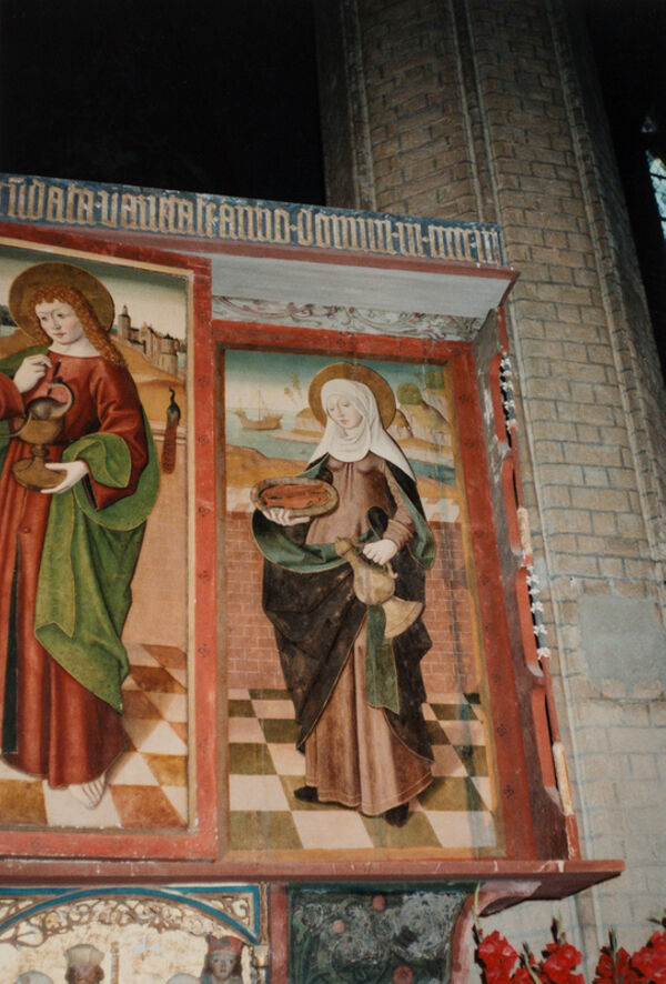 Vorschaubild Stiftskirche St. Maria, St. Johannes und St. Elisabeth, Marienaltar mit geschlossenen Flügeln, Hl. Elisabeth (Foto 1990)